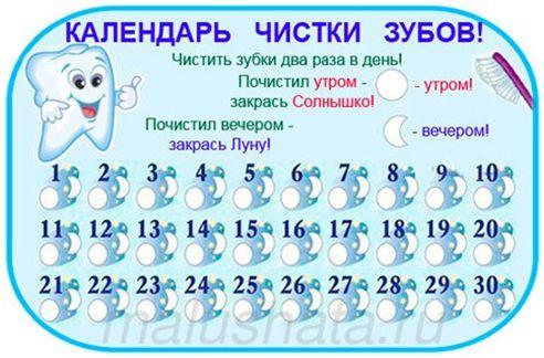 График чистки зубов для детей распечатать